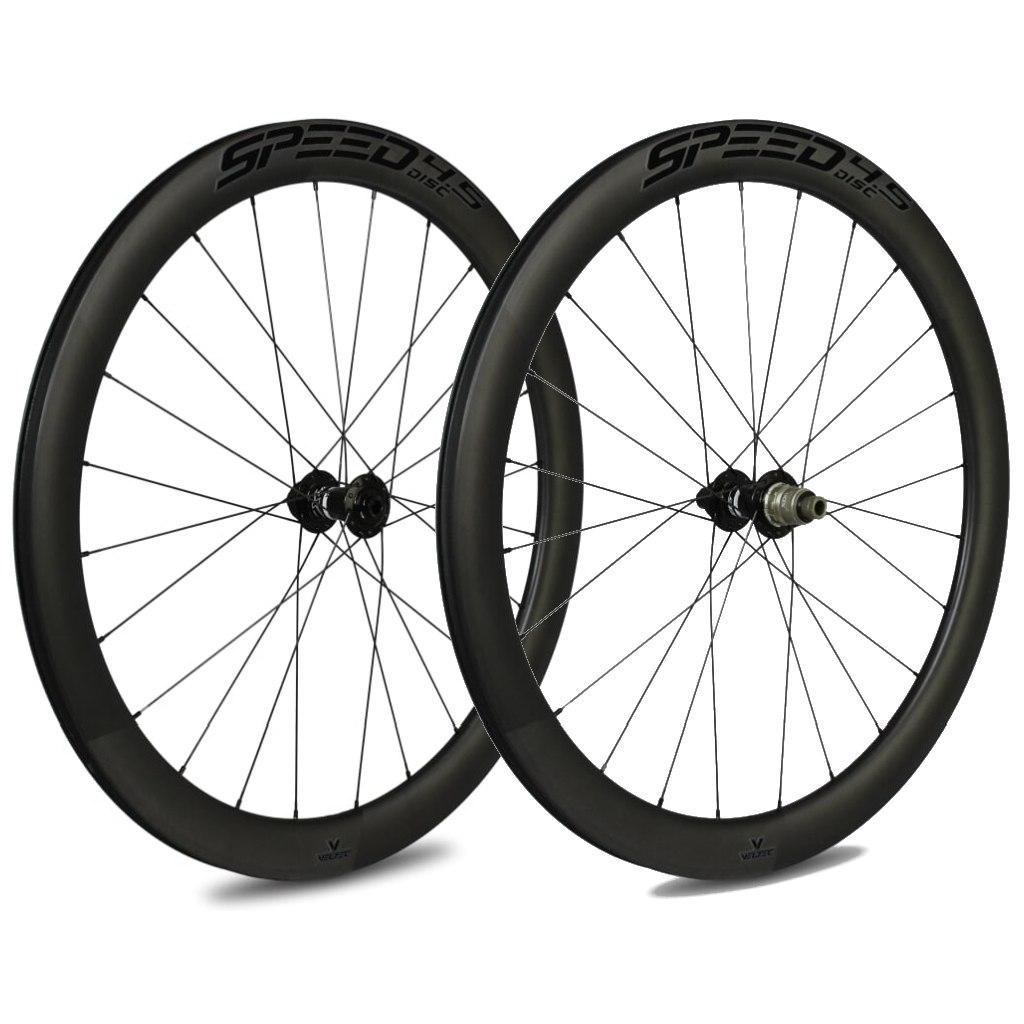 Veltec Speed 4.5 Disc Carbon Laufradsatz - Drahtreifen - 12x100mm / 12x142mm - schwarz mit schwarzen Decals