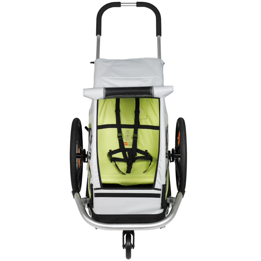 Image of XLC BS-C08 Mono 8teen Bike Trailer for 1 Kid with Cover - silver/lime