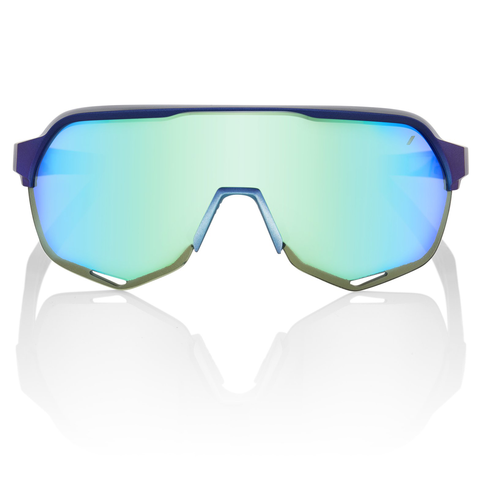 Image of 100% S2 Multilayer Mirror Lens Glasses - Matte Metallic Into the Fade/Blue Topaz + Clear