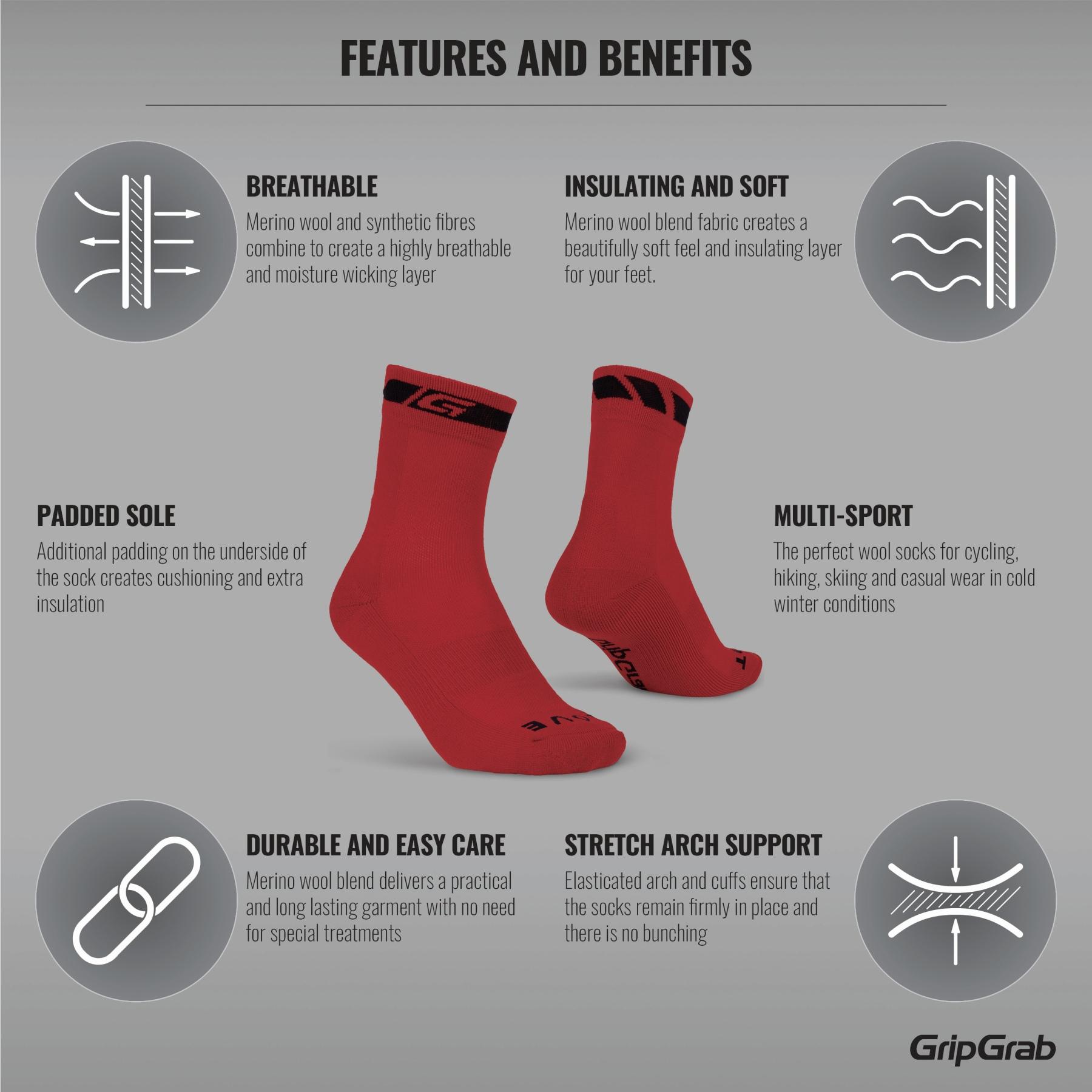 Image of GripGrab Merino Winter Sock - Red