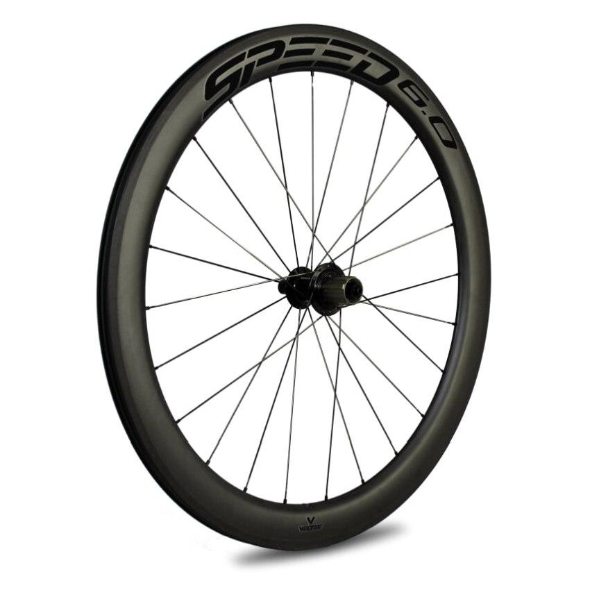 Veltec Speed 6.0 Carbon Hinterrad - Drahtreifen - QR130 - schwarz mit schwarzen Decals