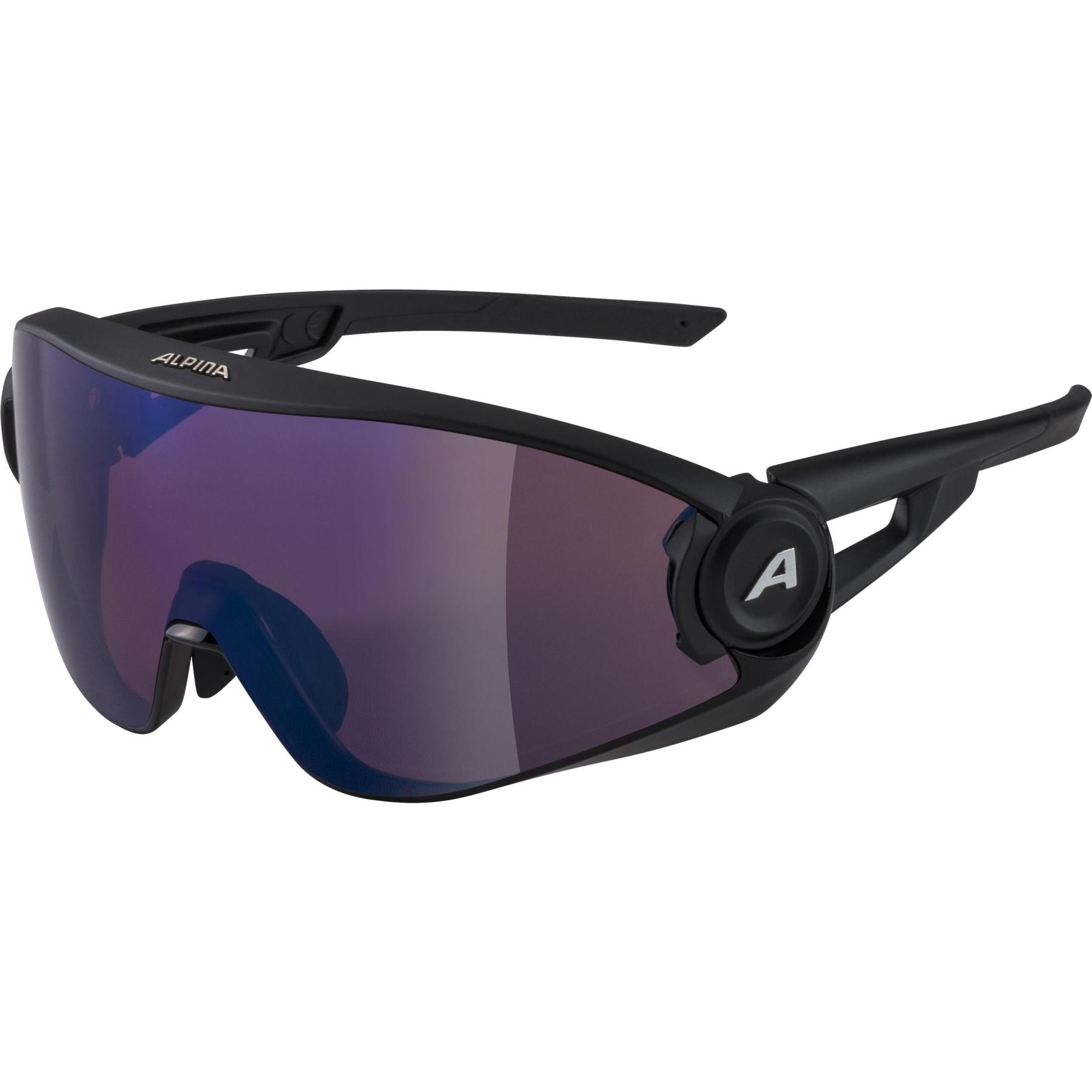 Alpina 5W1NG Q+VM Glasses - black matt / Quattroflex+Varioflex blue mirror