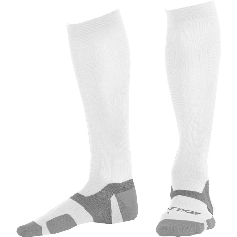 2XU Men's Vectr Light Cushion Knee High Sock UA5155e - white/grey