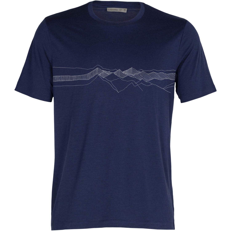 Icebreaker Tech Lite II Peak Patterns Herren T-Shirt - Royal Navy