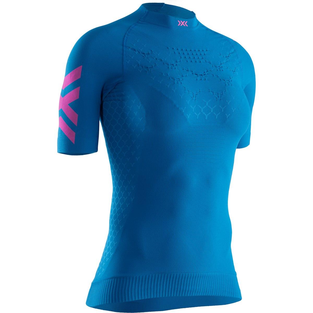 X-Bionic TWYCE 4.0 Run Kurzarm-Laufshirt für Damen - teal blue/neon flamingo