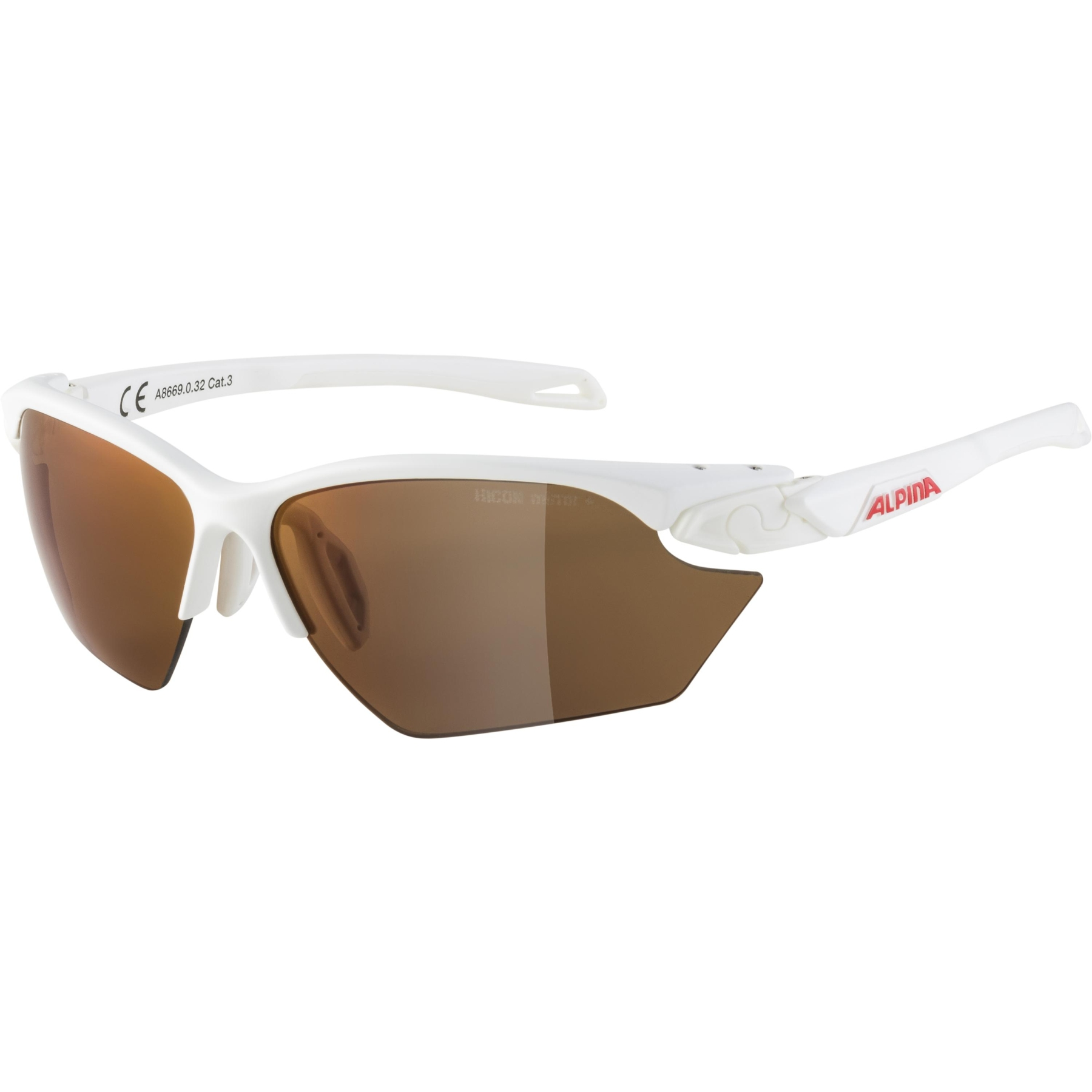 Alpina Twist five HR S HM+ Glasses - white matt / Hicon red mirror
