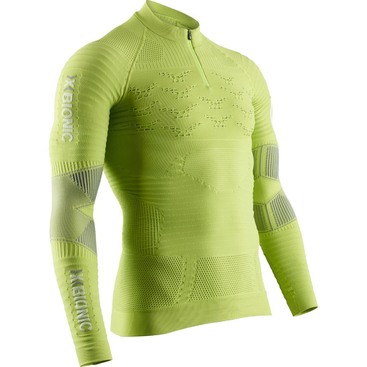 Bild von X-Bionic Effektor 4.0 Trail Run Powershirt 1/2 Zip Langarmshirt für Herren - effektor green/arctic white