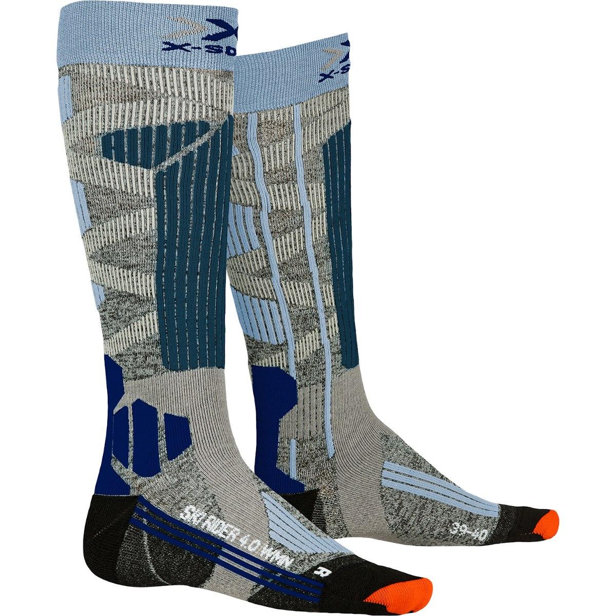 X-Socks Ski Rider 4.0 Socks for Women - stone grey melange/mineral blue