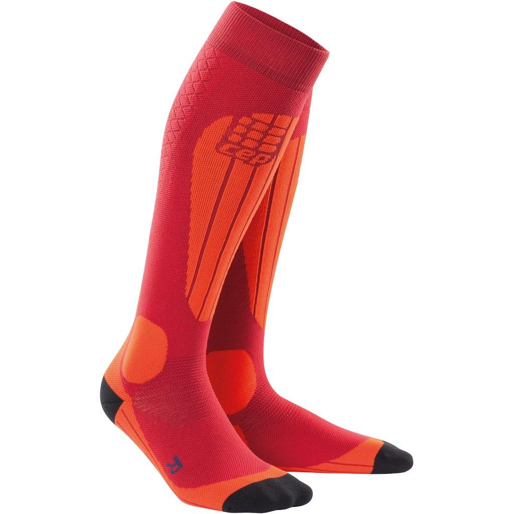 CEP Ski Thermo Socks - cranberry/orange