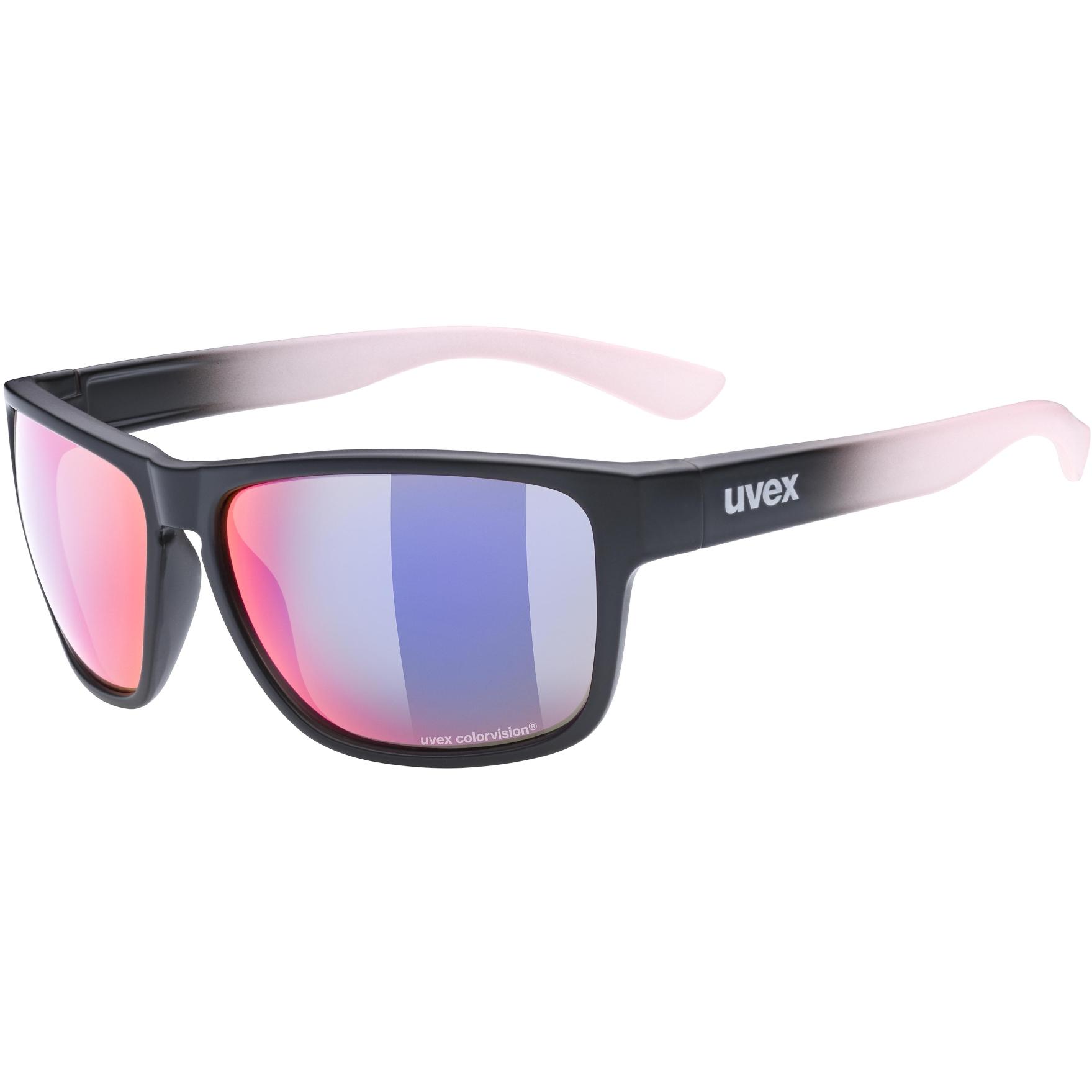 Uvex lgl 36 CV Glasses - black mat rose/colorvision mirror plasma