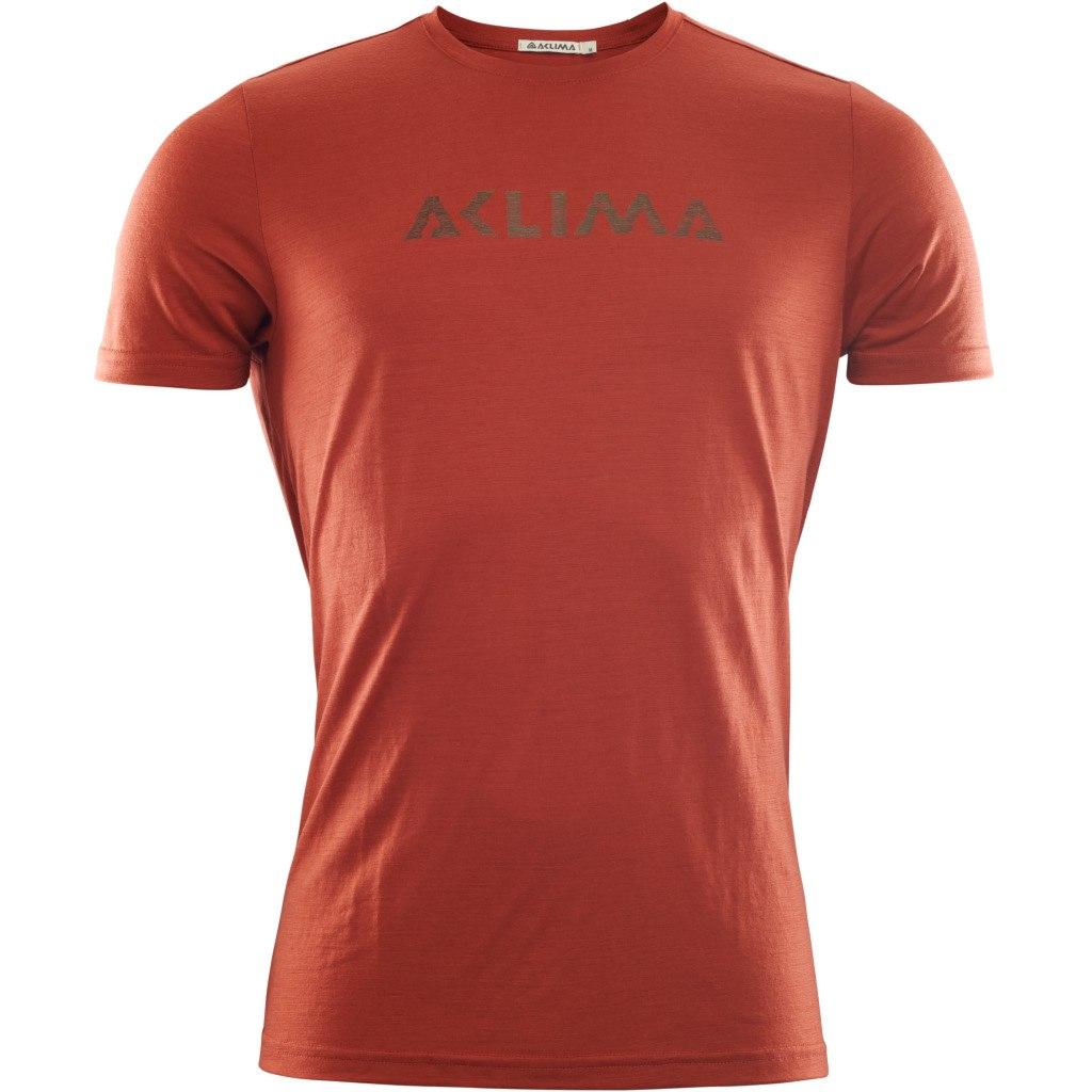 Aclima Lightwool T-Shirt Logo - red ochre