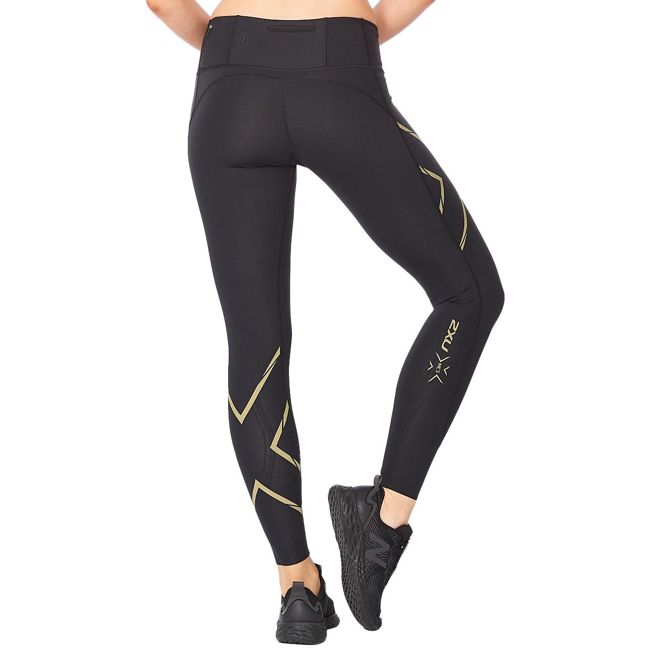 Imagen de 2XU Light Speed Mid-Rise Compression Mallas para mujer - Tall - black/gold reflective