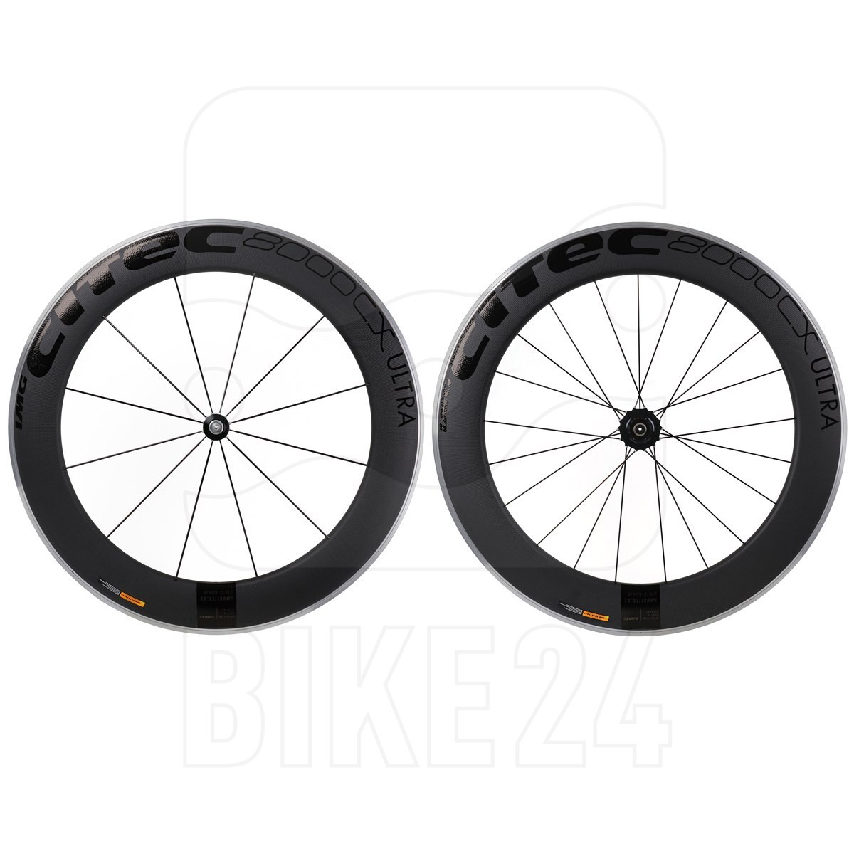 CITEC 8000 CX / 80 Ultra Carbon 28 Inch Wheelset - Clincher - FW: 9x100mm QR   RW: 10x130mm QR - black