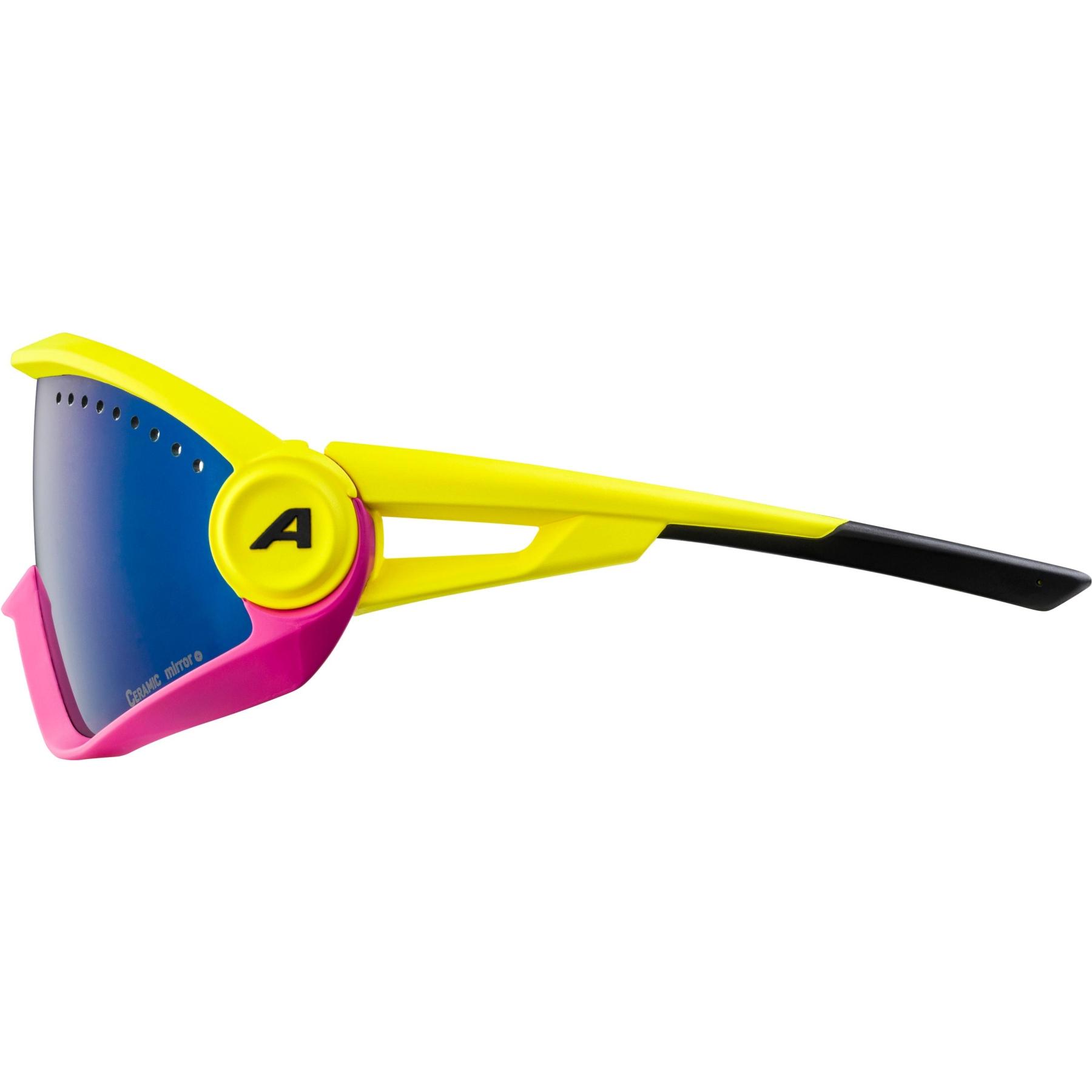 Image of Alpina 5W1NG CM+ Glasses - pineapple-magenta  / blue mirror