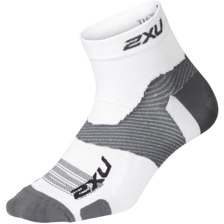 2XU Men's Vectr Ultralight 1/4 Crew Sock - white/grey