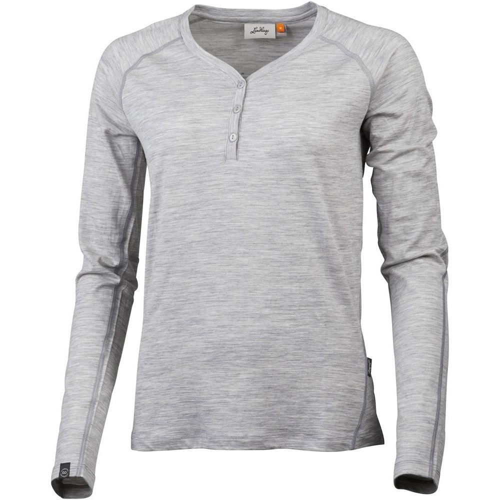 Image of Lundhags Gimmer Merino Light Women's Henley Long Sleeved Shirt - Light Grey 829