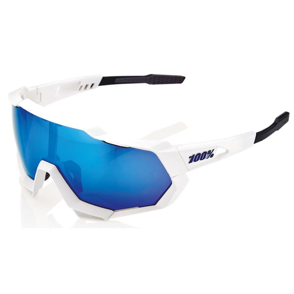100% Speedtrap HiPER Multilayer Mirror Lense Gafas - Matte White/Blue Multilayer + Clear