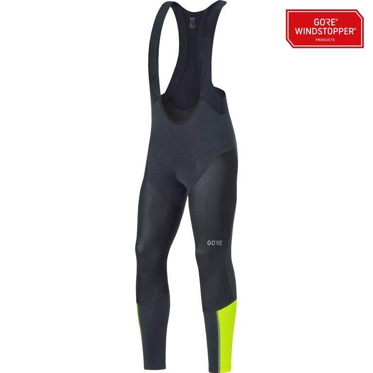 GORE Wear C7 Partial GORE® WINDSTOPPER® Pro Bib Tights+ - black/neon yellow 9908