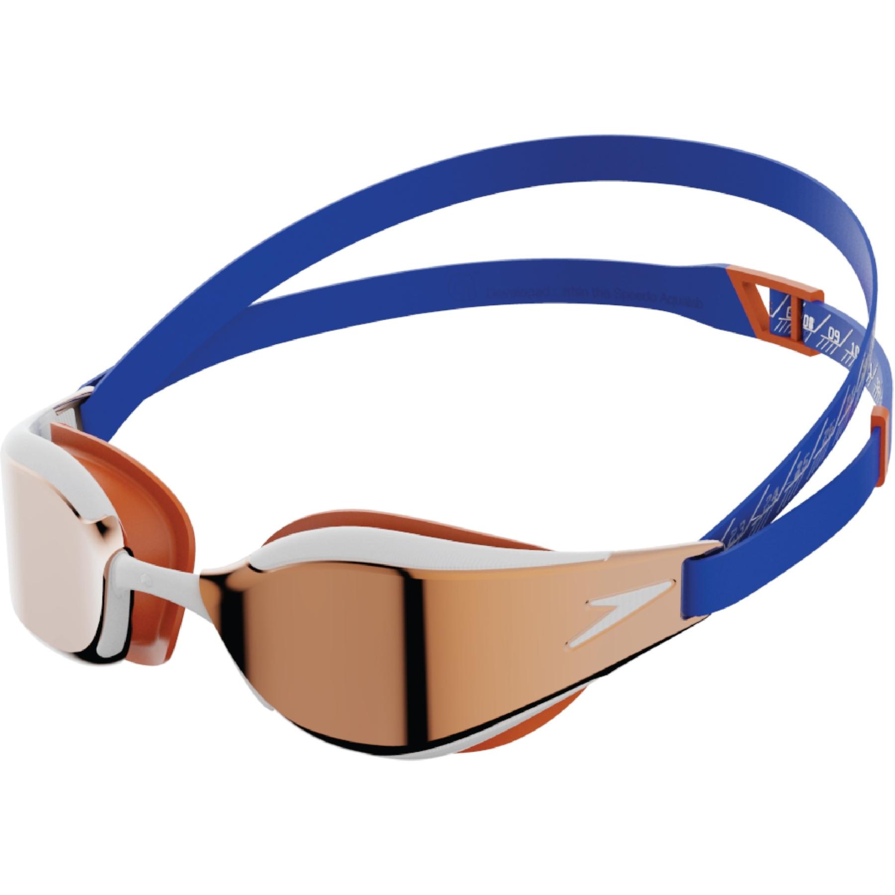 Produktbild von Speedo Fastskin Hyper Elite Mirror Schwimmbrille - blue flame/dragon fire/rosegold