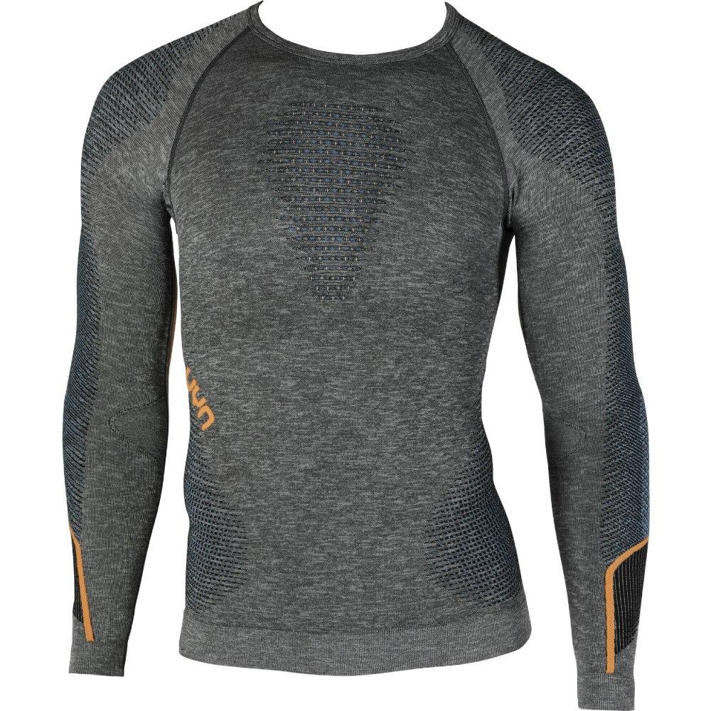 UYN Ambityon Man Underwear Shirt Long Sleeves Melange - Black/Atlantic/Orange Shiny