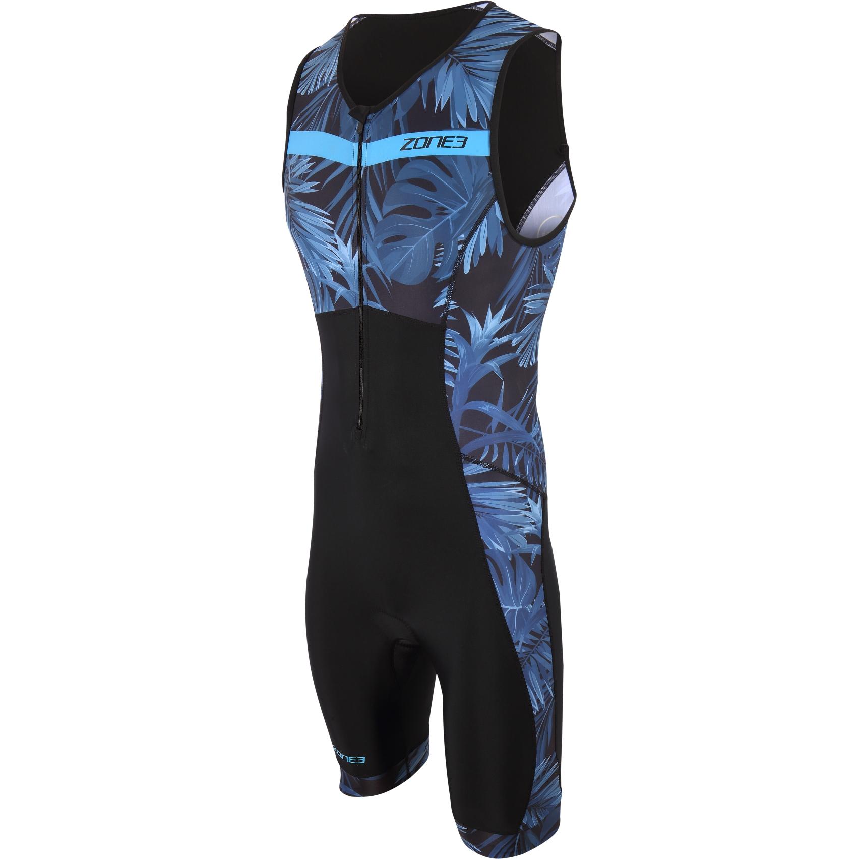 Zone3 Men's Activate+ Tropical Palm Sleeveless Trisuit - navy/blue