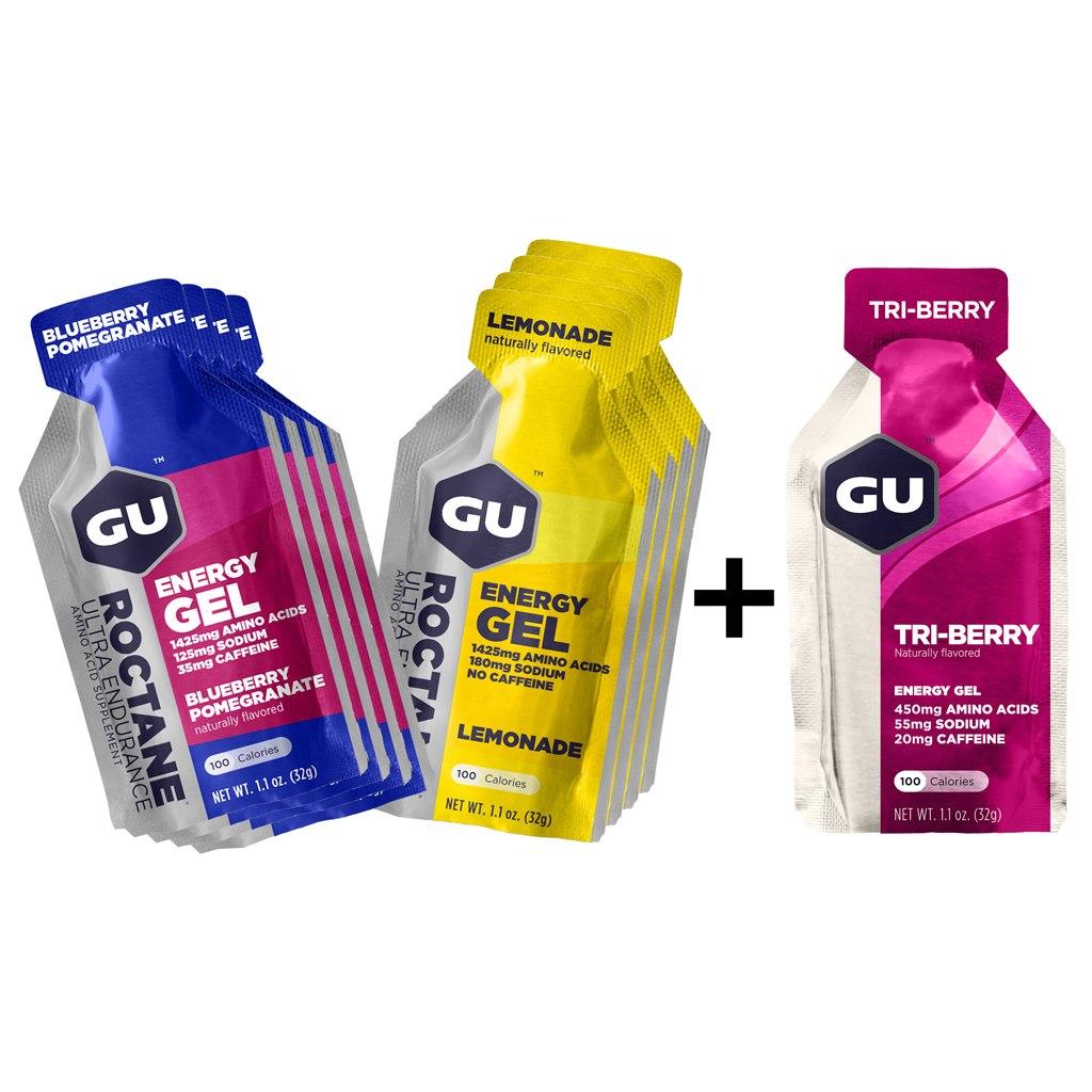 GU Roctane Energy Gel Test Special (Blueberry Pomegranate + Lemonade) - 8 Gels + Promo-Gel