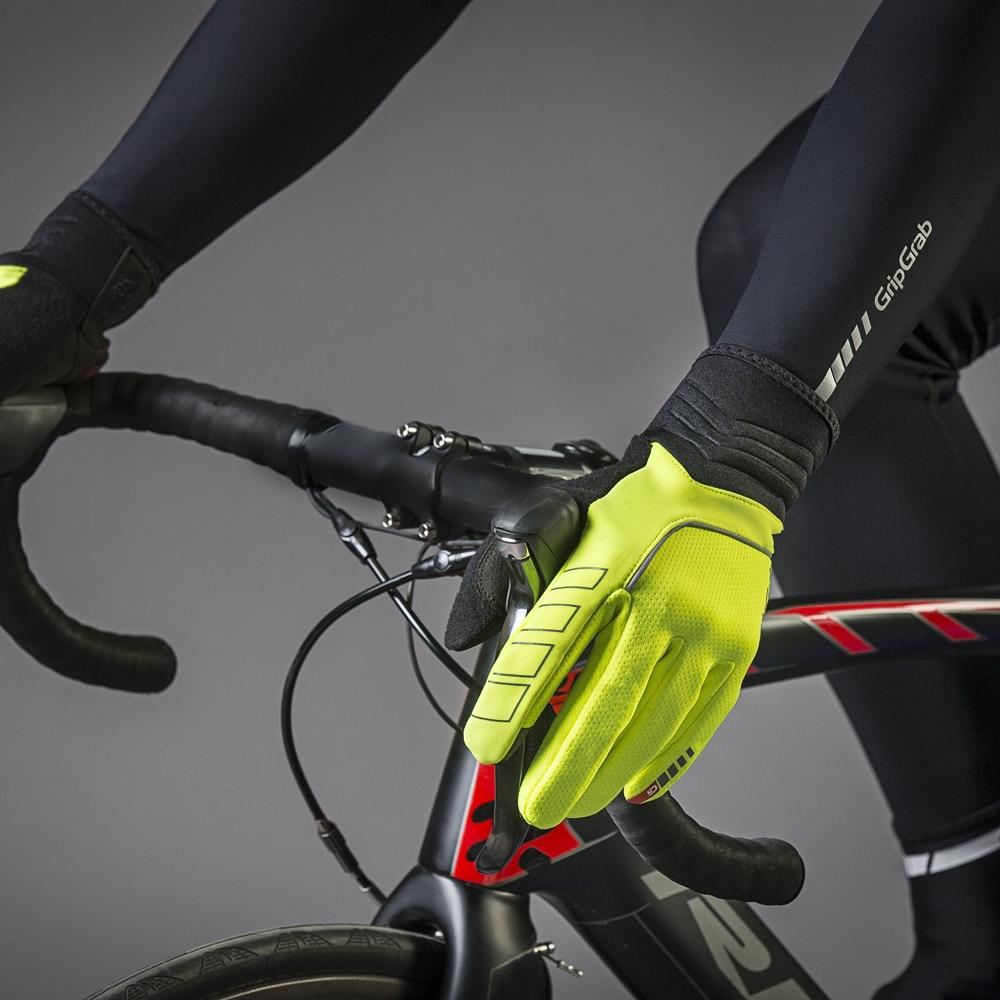 Image of GripGrab Hurricane Hi-Vis Windproof Midseason Glove - yellow hi-vis