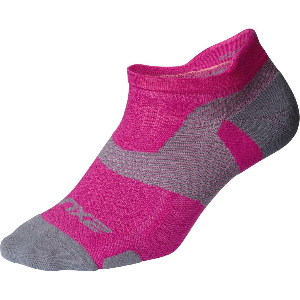 2XU Vectr Light Cushion No Show Socks - magenta/light grey