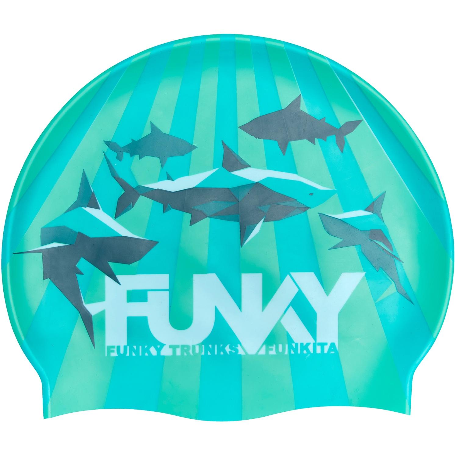 Produktbild von Funky Trunks Silikon Badekappe - Shark Bay