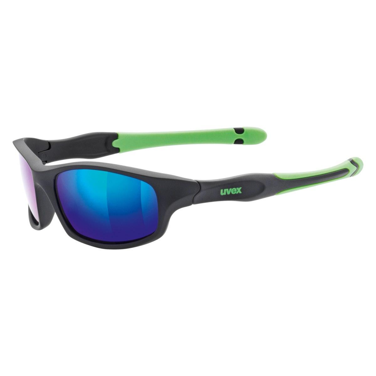 Uvex sportstyle 507 Kinderbrille - black mat green/mirror green