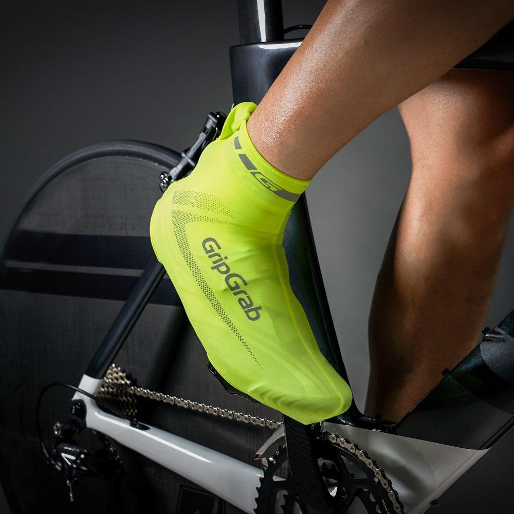 Image of GripGrab RaceAero Hi-Vis Lightweight Lycra Shoe Cover - Yellow Hi-Vis