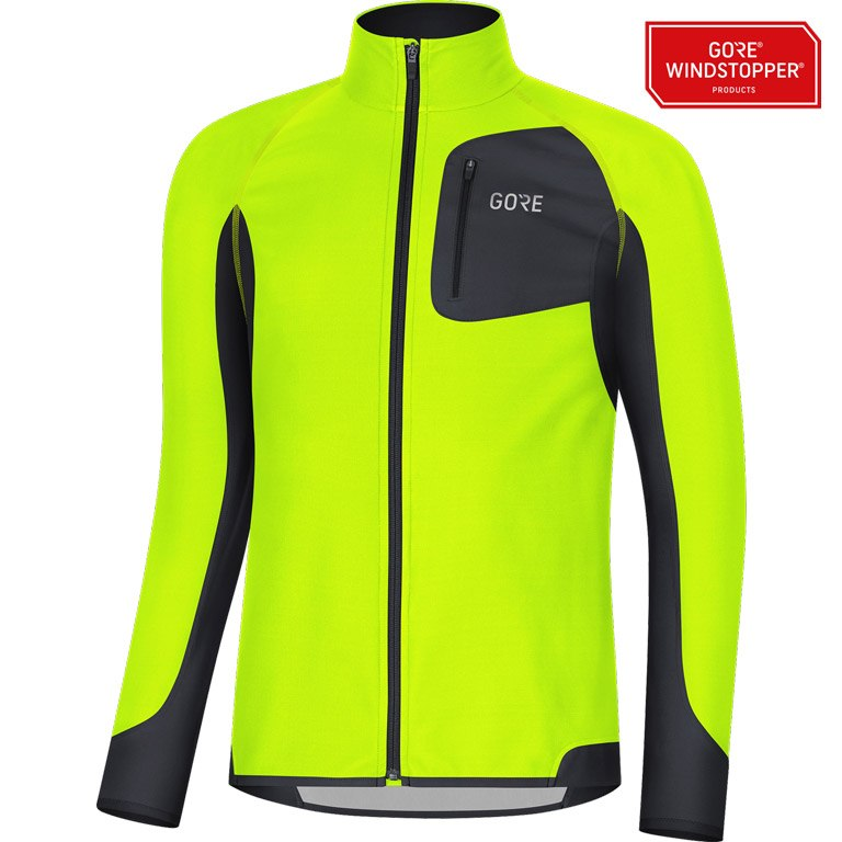 Foto de GORE Wear R3 Partial GORE® WINDSTOPPER® Camiseta - neon yellow/black 0899