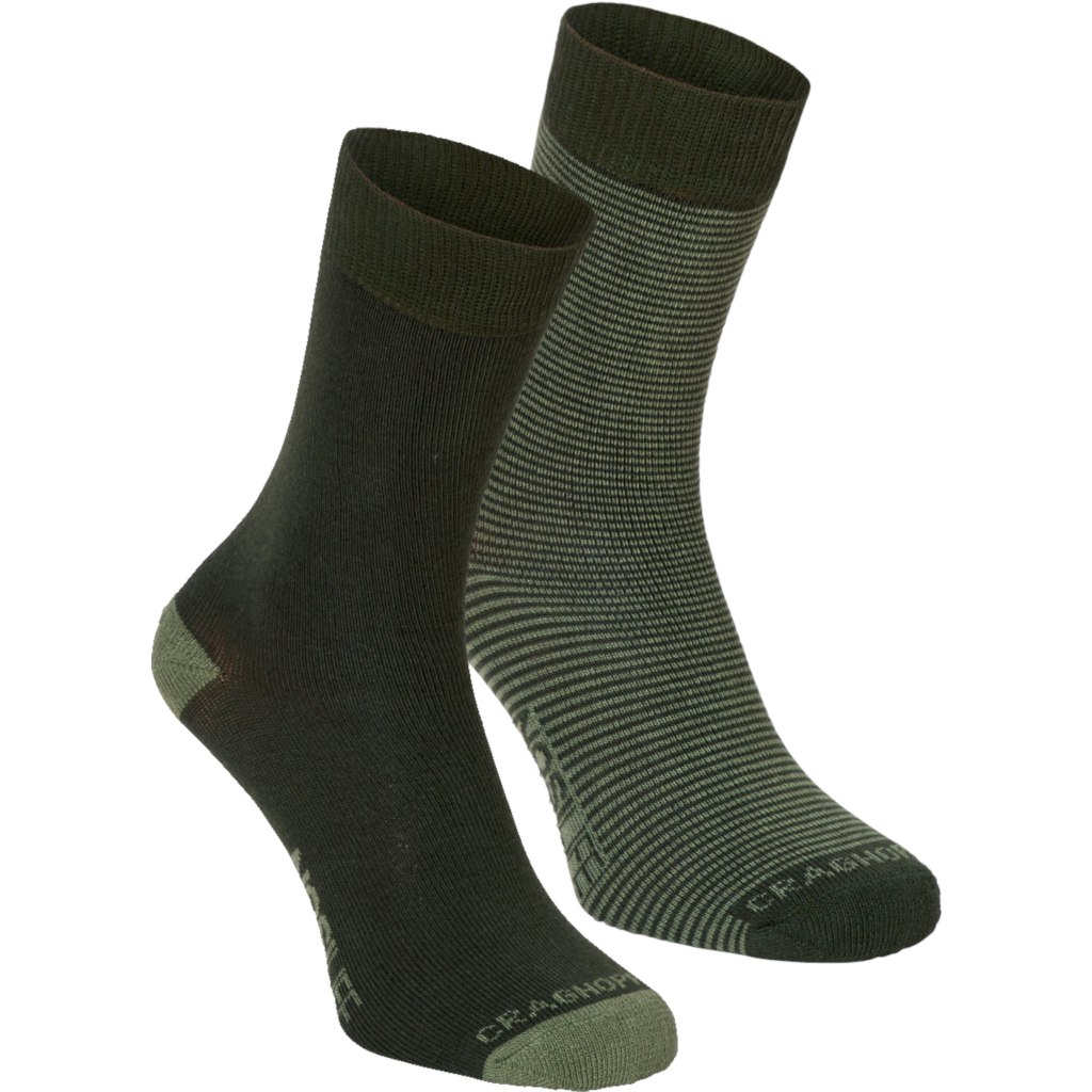 Craghoppers Women's NosiLife Twin Pack Socks - Parka Green / Dry Grass