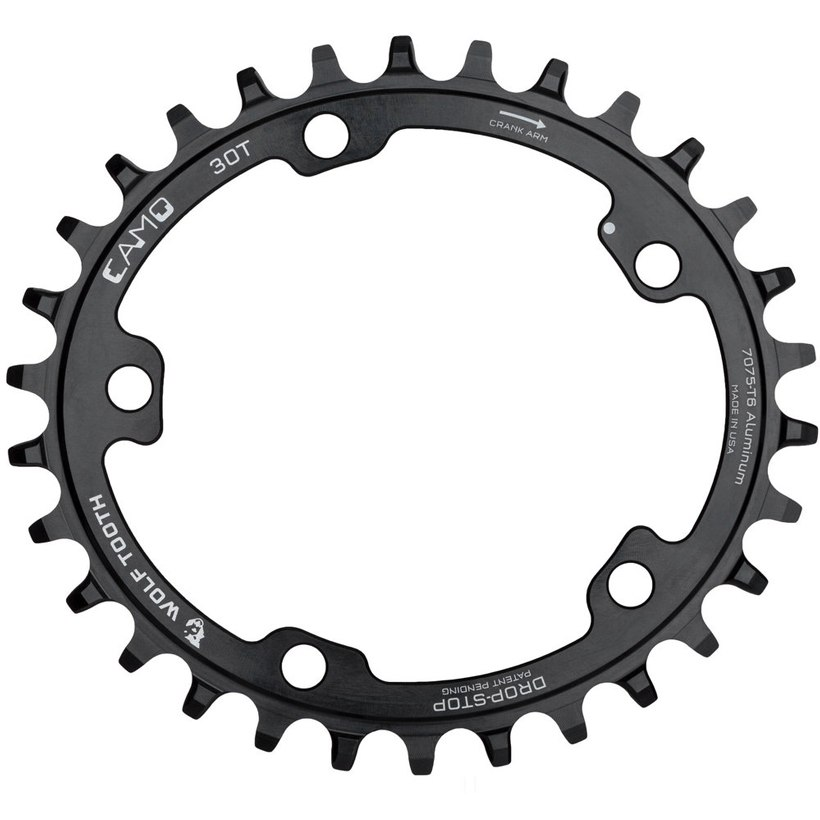 Wolf Tooth Elliptical - Camo Single Chainring for Camo Spider - Drop Stop - black