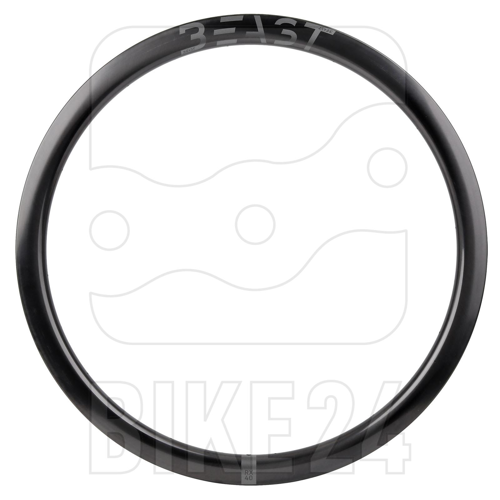 Image of Beast Components RX40 Carbon Disc Clincher Rim - 21-622 - 24 Hole - UD black