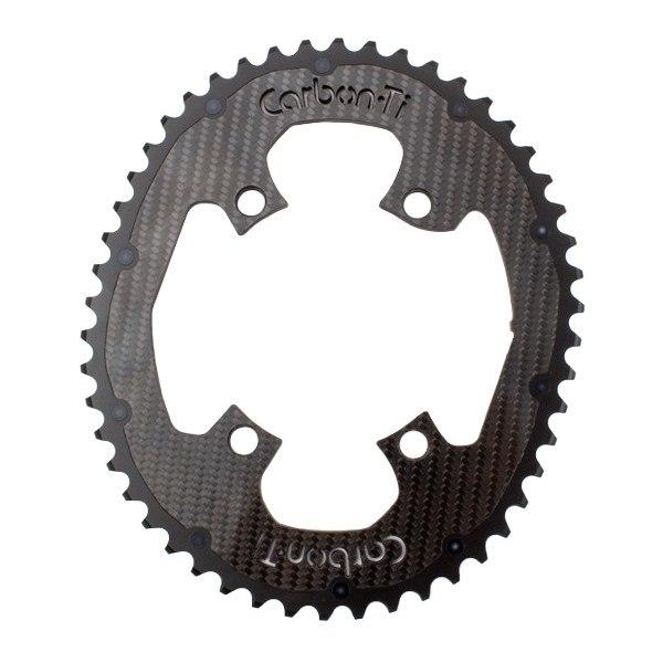 Carbon-Ti X-CarboCam Road Oval Chainring - 4-Arm - 110mm - Dura Ace 9100 - black
