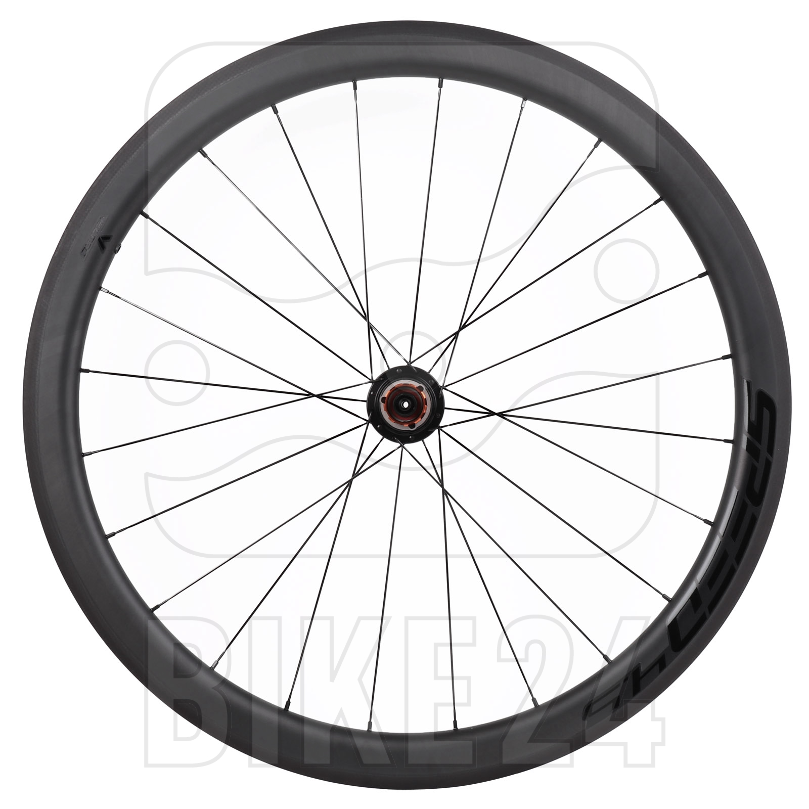 Veltec Speed 4.5 Carbon Hinterrad - Drahtreifen - QR130 - schwarz mit schwarzen Decals