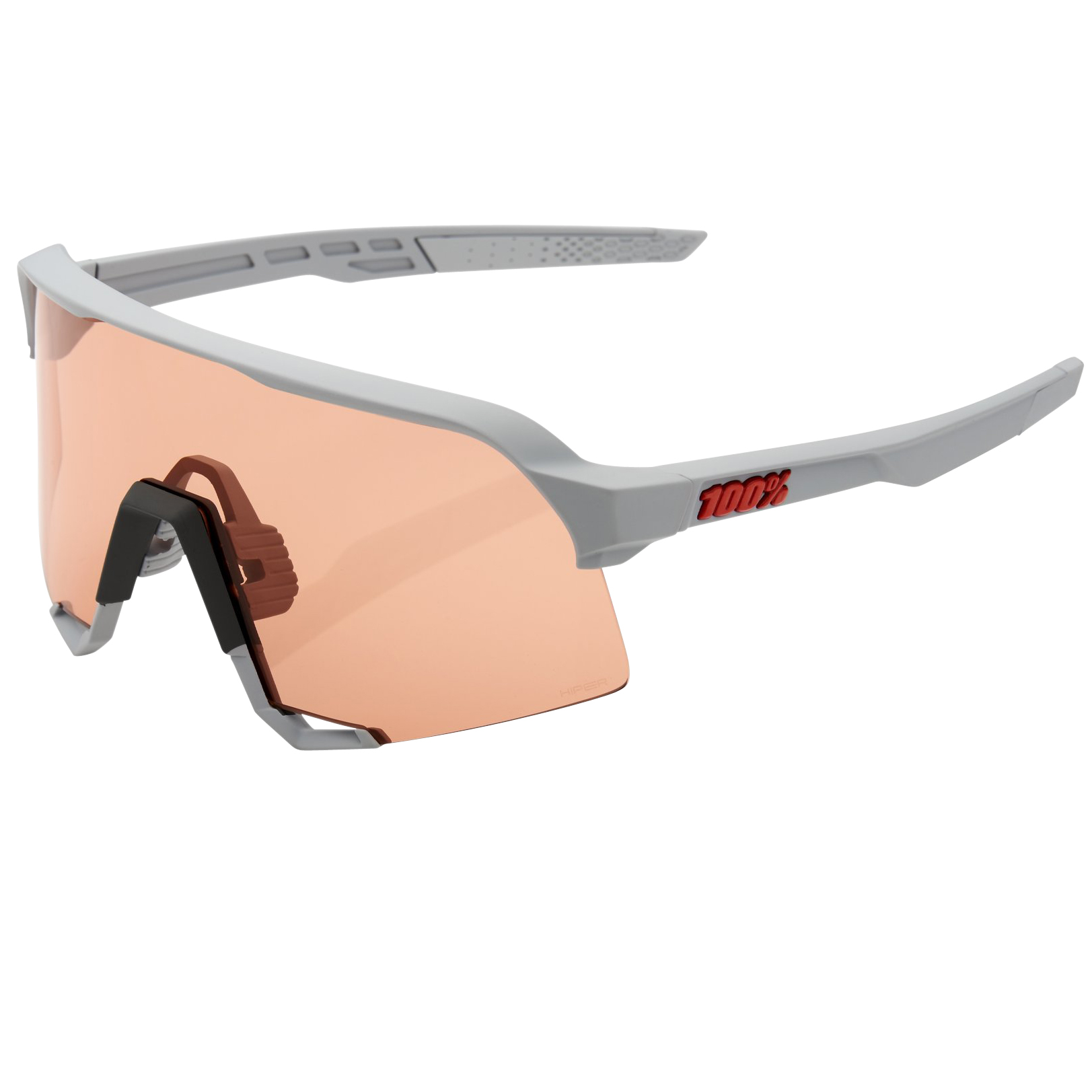 100% S3 HiPER Mirror Glasses - Soft Tact Stone Grey/Coral + Clear
