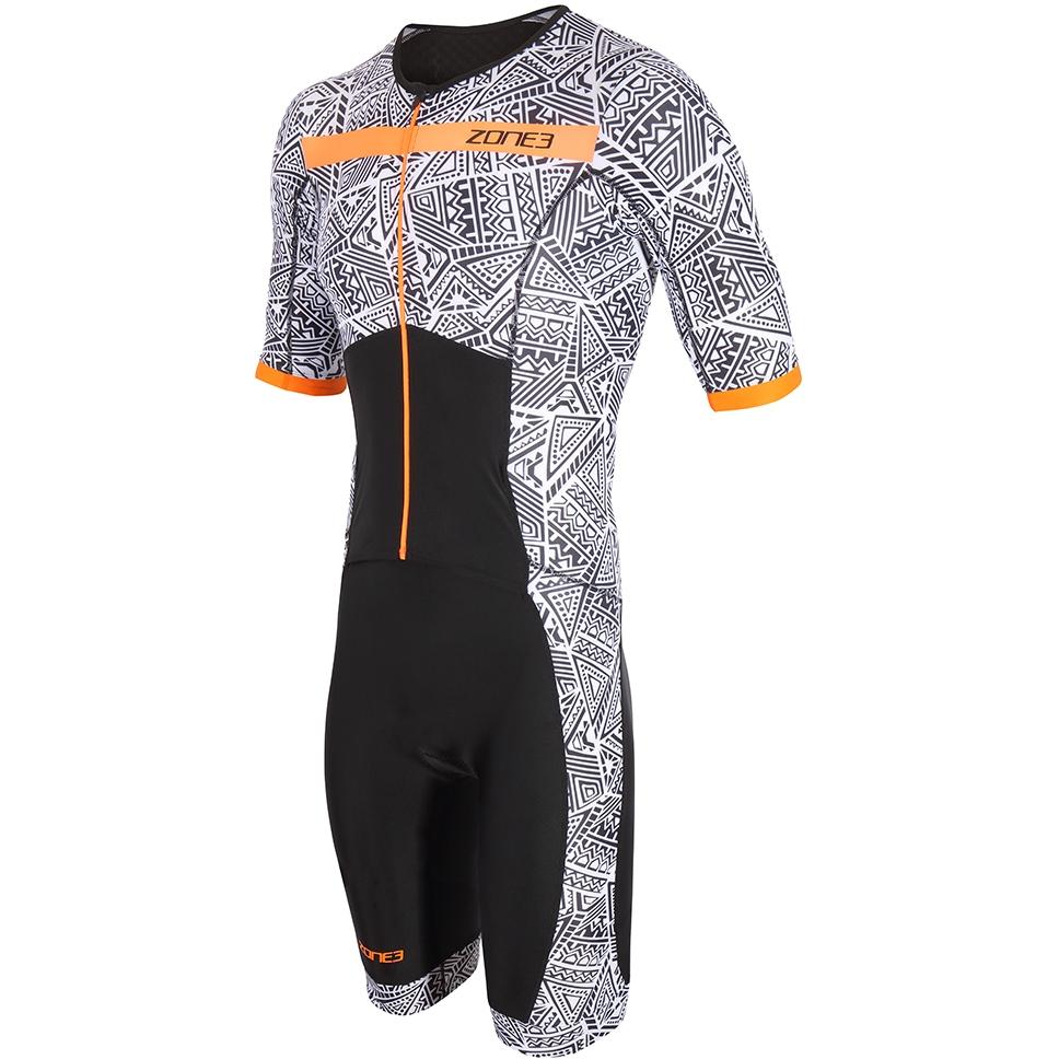 Foto de Zone3 Activate+ Kona Speed Short Sleeve Full Zip Mono de triatlón - black/white/orange