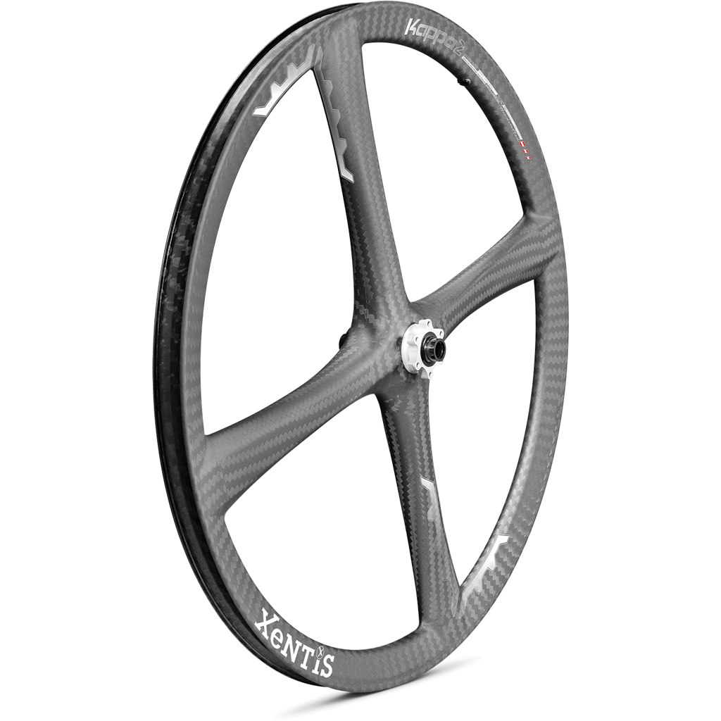 Xentis Kappa2 MTB - 26 Zoll Carbon Vorderrad - 6-Loch - 15x100mm - matt schwarz / weiß