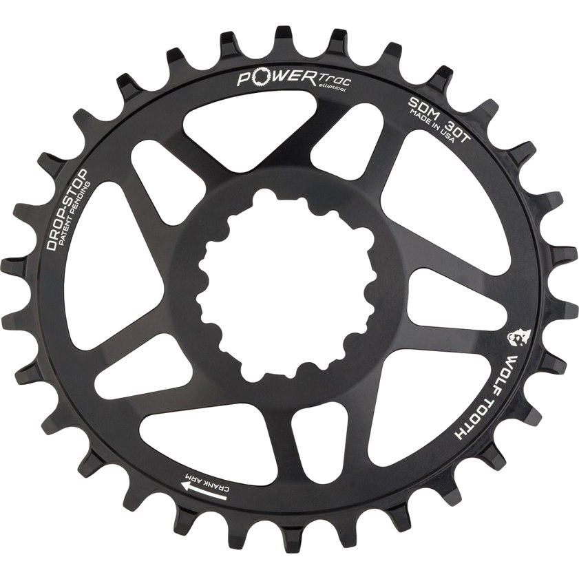 Wolf Tooth Elliptical - Direct Mount Boost Chainring for SRAM Boost - Drop Stop - black