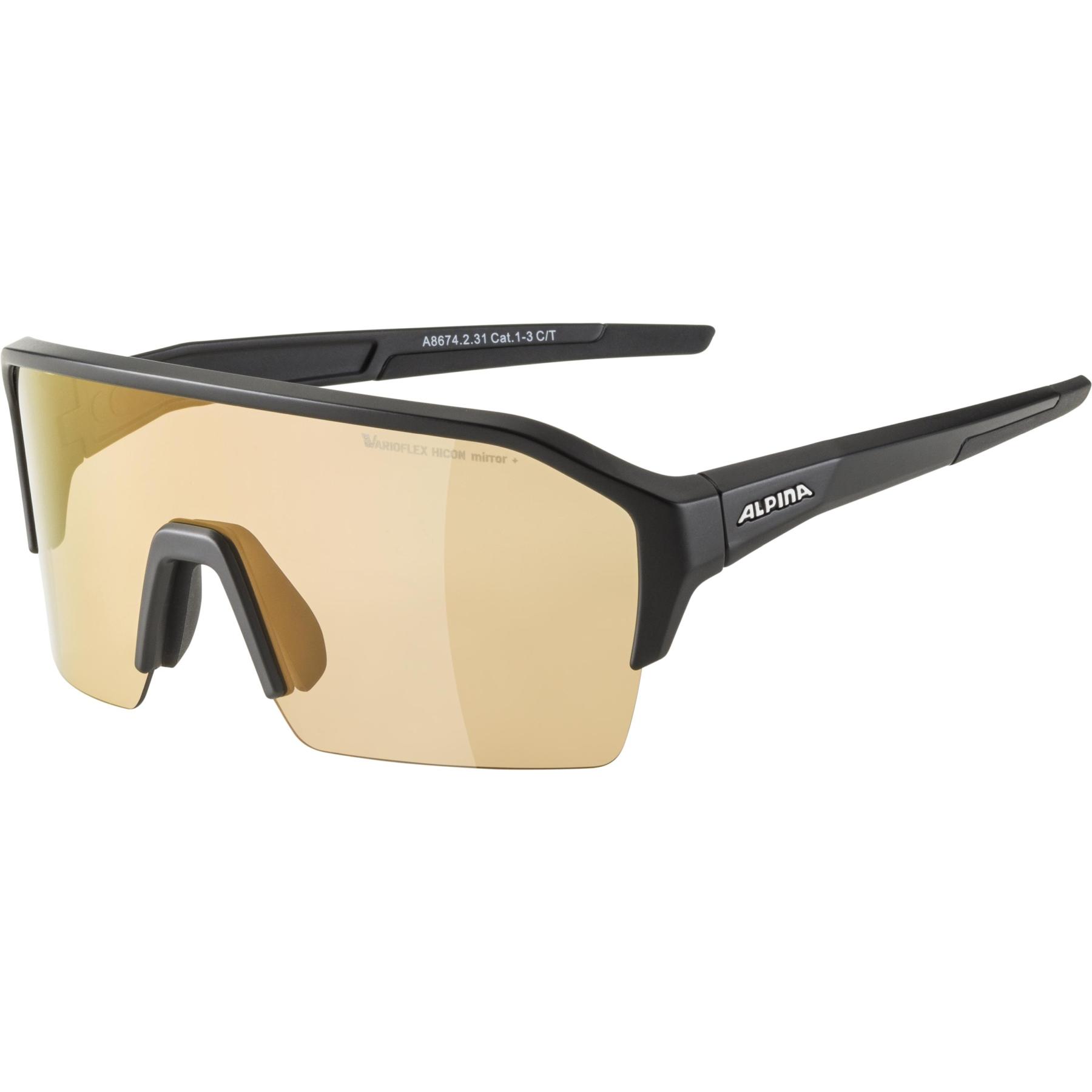Alpina Ram HR HVLM+ Glasses - black matt / Hicon Varioflex silver mirror