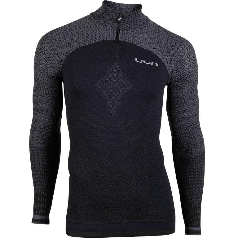 UYN Alpha Herren Running Shirt mit langen Ärmeln und kurzem Reißverschluss - blackboard/charcol