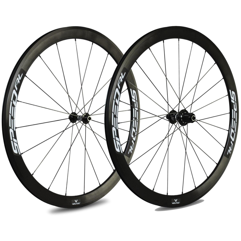 Veltec Speed AL Laufradsatz - Drahtreifen - QR100/QR130 - schwarz mit weißen Decals