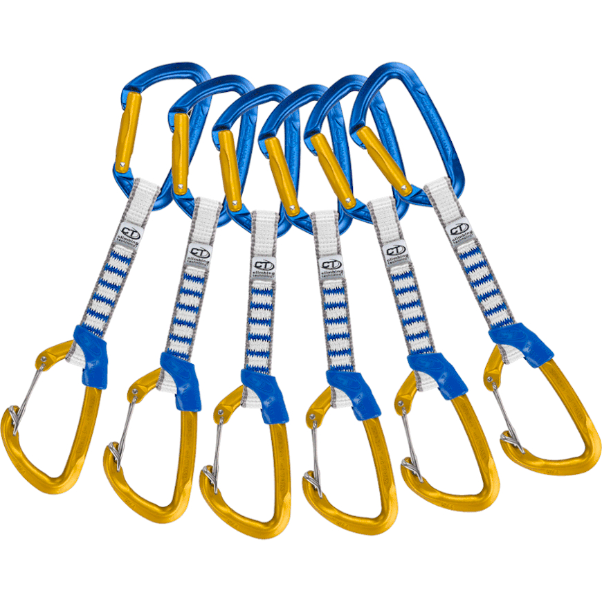 Image of Climbing Technology Berry NY sling 12 cm long - 16mm wide Quickdraw Pack of 6 - blue / ocher