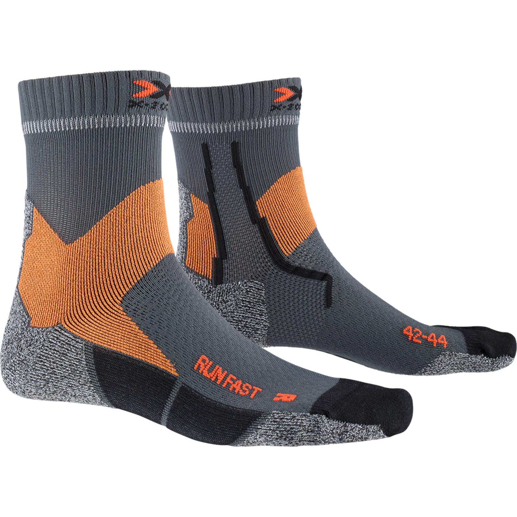 X-Socks Run Fast Laufsocken - pearl grey/sunset orange