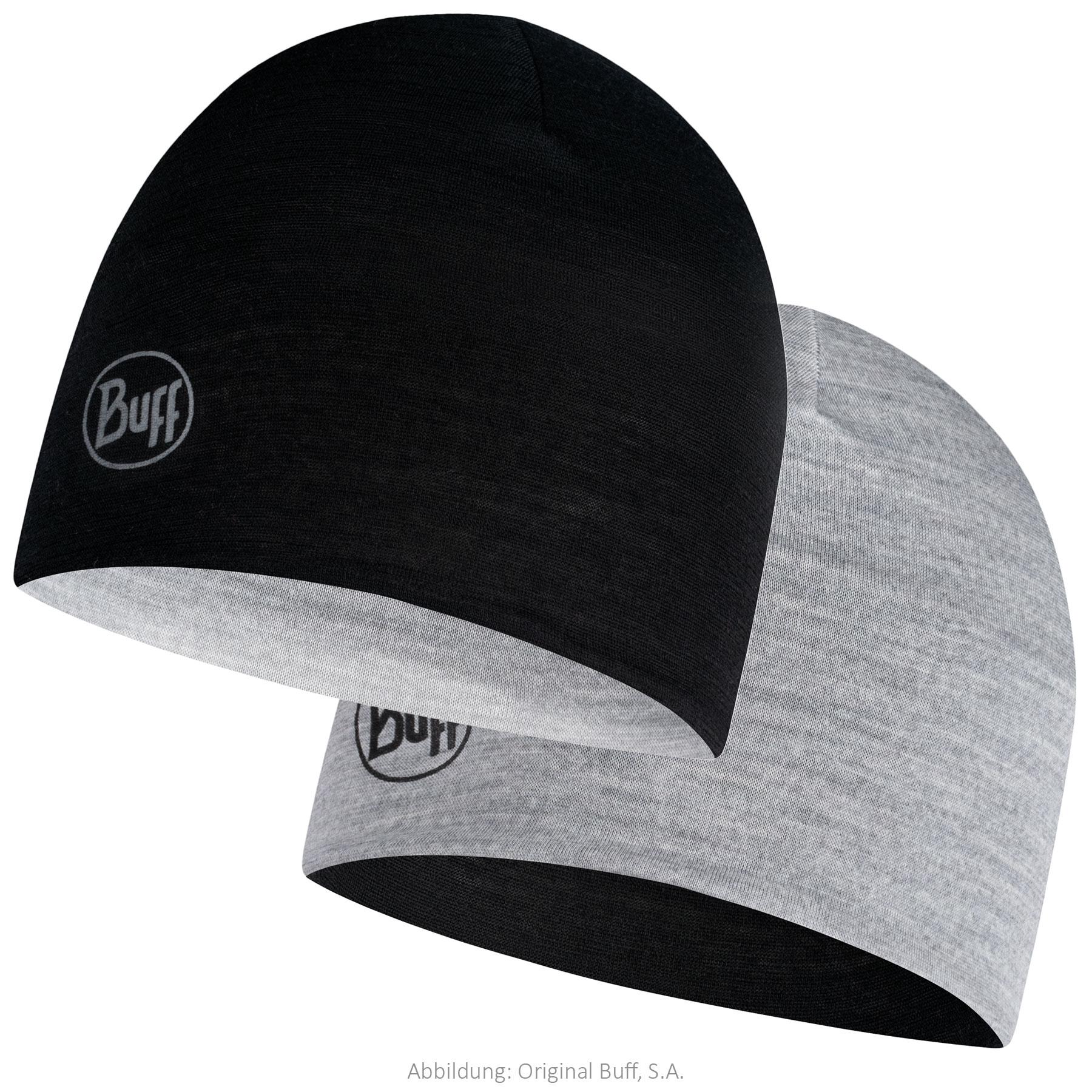 Buff® Lightweight Merino Wool Reversible Hat Kids - Black - Grey