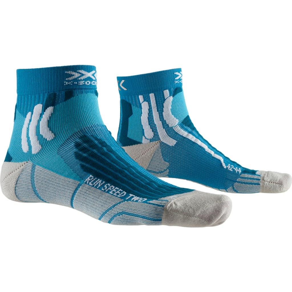 X-Socks Run Speed Two Socks Laufsocken - teal blue/pearl grey
