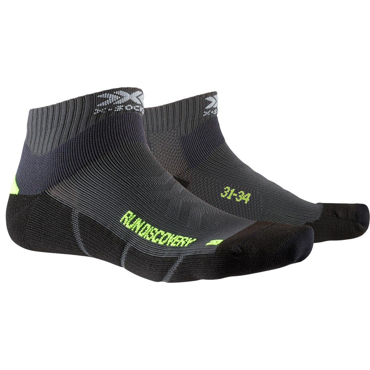 X-Socks Run Discovery Kinder Laufsocken - charcoal/phyton yellow/black