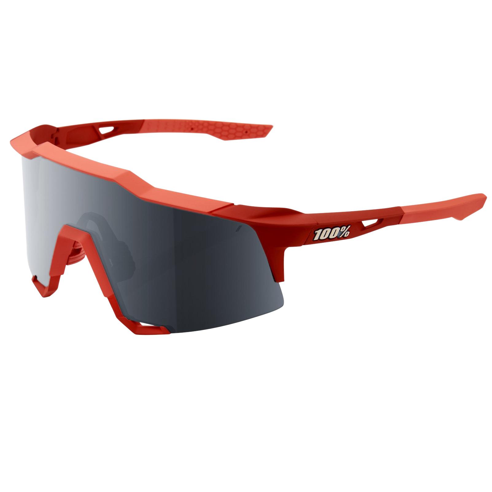 100% Speedcraft - Tall - Mirror Lense Gafas - Soft Tact Coral/Black Mirror + Clear